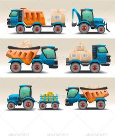 Buy Set of Trucks and Tractors for Transportation by yayasya on GraphicRiver. Set of trucks and tractors for transportation.This set is saved in Also there AI Illustrator format. Car Drawing Kids, Car Drawings, Top Cars, Top View, Graphic Art, Graphic Design, Tractors, Transportation, Objects