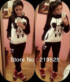Mickey Mouse Sport Suit Women Animal print Winter Set Womens Casual fleece costume Hoodies Sweatshirts apparel accessories $19.99 - 38.99