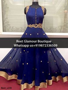 Dazzling Navy Blue Embroidered Anarkali Suit Product Code : Reet_s239 To order, call/whats app on +919872336509 We offer huge variety of Punjabi Suits, Anarkali Suits, Lehenga Choli, Bridal Suits,Sari, Gowns,etc.We Can also Design any Suit of your Own Design and any Color Combination.