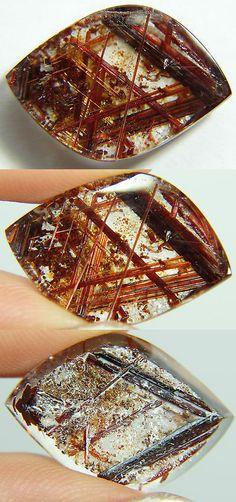Rutilated Quartz 181099: Q-6 Rare Rutilated Quartz Red,Copper 9.30Ct 21X14x5mm,Brazil, Slice, Flat Stone -> BUY IT NOW ONLY: $55.8 on eBay!