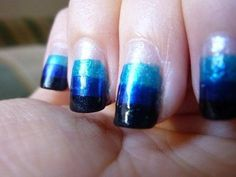 blue stripe ombre nails