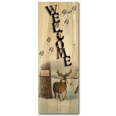 Welcome No Hunting Painting Print on Wood