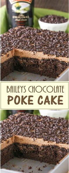 Baileys Chocolate Poke Cake - All About Recipes Poke Cake Recipes, Dessert Recipes, Snacks Recipes, Healthy Recipes, Just Desserts, Delicious Desserts, Baileys Cake, Semi Sweet Chocolate Chips, Chocolate Recipes