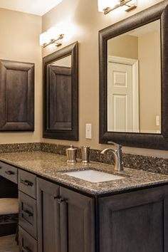 Image Of Gorgeous moen faucets in Bathroom Contemporary with Moen Voss Faucet next to Rectangular Undermount Sink alongside Silestone Mountain Mist and Silestone