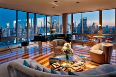 best penthouse interiors | Panorama Of The City Living Room New York Luxury Penthouses Interior ...