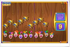 """""""Spider count"""" es un bonito juego, con payasos y arañas, de turtlediary.com, en el que se practica el conocimiento de los números del 0 al 10 con expresión oral en inglés."""