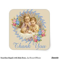Guardian Angels with Baby Roses Wreath Square Sticker