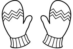 Winter Mittens Line Art - Free Clip Art Coloring Pages Winter, Coloring Books, Christmas Colors, Christmas Art, Black And White Mittens, Mittens Template, Snowflake Craft, Shape Templates, Winter Crafts For Kids