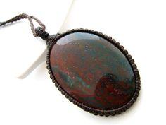 Bloodstone Necklace / Indian Bloodstone / December finds / jewelry / Healing Gemstone Jewelry / March birthstone / Healing gift / Macrame