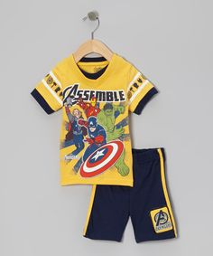 Look at this #zulilyfind! Yellow & Navy 'Avengers' Tee & Shorts - Infant by Avengers #zulilyfinds