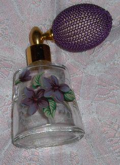 Vtg Atomizer Perfume Bottle Purple Pum Amethyst Orchids? Floral Art Glass Bottle