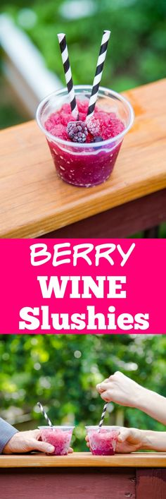 Two ingredient mixed berry wine slushies! So easy! Do them ahead, and sip on them all summer long! @DessertForTwo