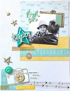 Keeper layout by Amanda Baldwin for Charms Creations September Challenge featuring Amy Tangerine Rise & Shine Collection.