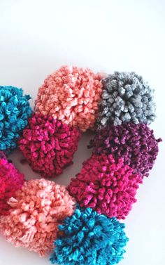 Pretty fall texture in a wreath. http://asubtlerevelry.com/pompom-heart-wreath
