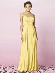 Strapless Long Yellow Bridesmaid Dresses TOYE0103 - Yellow Dresses