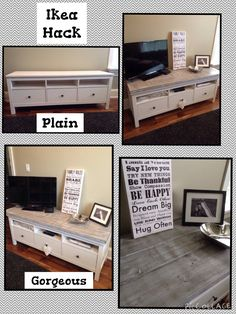My Ikea hack... Hemnes TV unit with an added whitewash wood top.