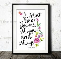 Claude Monet quote Print in floral watercolor flowers and hand written font Downloadable Art Print. Beautiful gift