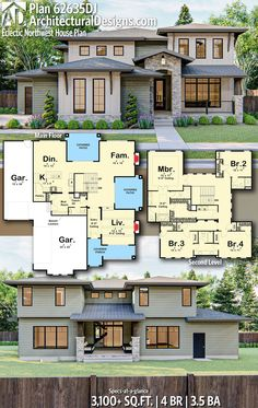 Contemporary House Plan gives you square feet of living space with 4 bedrooms and baths. AD House Plan Contemporary House Plan gives you square feet of living space with 4 bedrooms and baths. Sims House Plans, Family House Plans, Dream House Plans, Dream Houses, Cool House Plans, Sims 4 Family House, Beach House Plans, Cottage House Plans, Craftsman House Plans