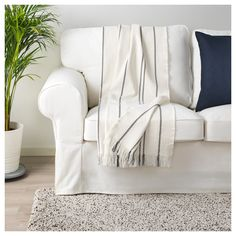IKEA - STINAMAJ, Throw, white, dark gray, Cotton is a soft and easy-care natural material that you can machine wash. Ikea Delivery, Scandinavian Pattern, Master Bedroom Bathroom, Recycling Facility, White Couches, Common Area, Home Decor Items, Hygge, Homes