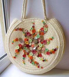 🌼🌺 Fancy bag with buttons🤗 nice💖 knitting crochet handmade yarn diy embroidery gift virka geschenke Crochet Handbags, Crochet Purses, Knitting Patterns, Crochet Patterns, Mode Crochet, Knitted Bags, Handmade Bags, Crochet Projects, Straw Bag