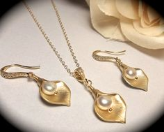Calla Lily necklace and earrings Set  by QueenMeJewelryLLC on Etsy, $59.99