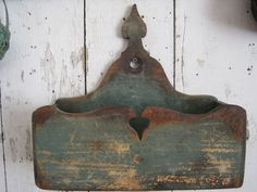 Old original blue green chippy paint wooden heart candle box AAFA primitive prim Americana