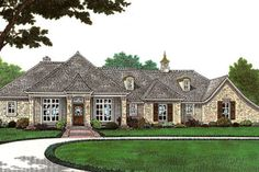 European Style House Plan - 2 Beds 2.5 Baths 1959 Sq/Ft Plan #310-646 Exterior - Front Elevation - Houseplans.com
