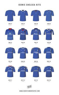 Some of the the most iconic kits that Chelsea players have worn throughout the history of the club. The strips range from the 1960's right up through to the present day and include the legendary Samsung jersey worn in their historic first Champions League Victory in 2012. Prints available at www.goodteamonpaper.com