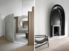 A minimal French apartment in Paris with architectural curved marble by Francois Champsaur