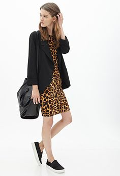 Leopard Bodycon Dress | FOREVER21 - 2000137476 // love the styling with the oversized menswear blazer, canvas slip-ons and undone hair.