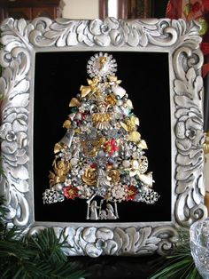 Framed Vintage Jewelry Christmas Tree Picture Angels Nativity Silver Rhinestone OOAK Repurposed Altered Collage Art by SunnyDayVintage.com $425 on Etsy