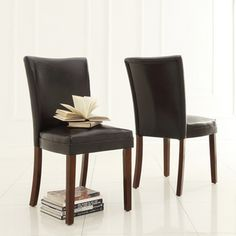 ETHAN HOME Jeremy Dark Brown Faux Leather Dining Chair (Set of 2)