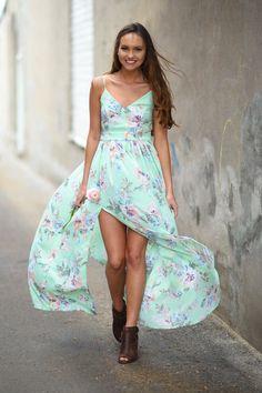 Feeling Minty ~ Floral Maxi Dress