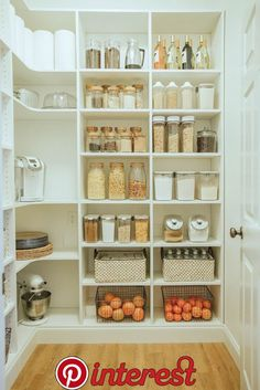 Laundry Room to Walk-in Pantry Reveal In case you missed the first pantry plan post, here is a quick re-cap! When we first moved into this home we knew we would have to figure out alternative pantry space. Our tiny pantry for a family wasn't quite doing t Kitchen Pantry Design, Kitchen Organization Pantry, Home Organization Hacks, Pantry Storage, New Kitchen, Kitchen Storage, Kitchen Decor, Organized Pantry, Pantry Shelving