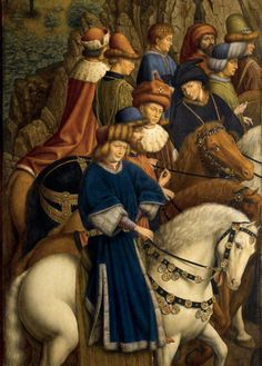 Medieval Horses. Very Beautiful.   The Ghent altarpiece. Eyck, Jan van. 1432. Wonderful painting and detail.