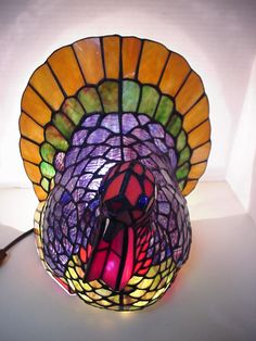 The stained glass turkey lamp that I got from Cracker