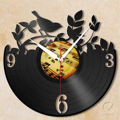 vinyl wall clock  garden bird by Anantalo on Etsy, ฿1100.00