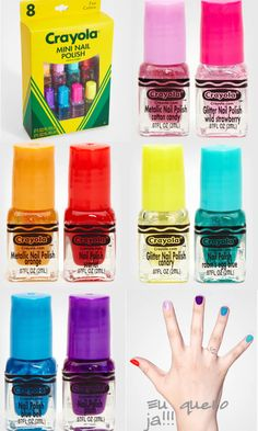 Crayola Nail Polish (colors consists of: Cotton Candy Metallic, Wild Strawberry Glitter, Orange Metallic, Scarlet, Canary Glitter, Robin's Egg Blue, Blue Bell, Plum