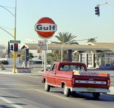 Gulf gas station in the early 1970s, 7th Street and Glendale, Phoenix, Arizona. The view is looking south. Regular is 27.9 and premium is 32.9.