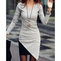 Stylish Scoop Neck Long Sleeves Color Splicing Irregular Hem Flocking Dress For Women, GRAY, XL in Long Sleeve Dresses | DressLily.com