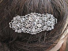 Wedding Hair- Comb or Barrette- Rhinestone Hair Piece-Wedding Hair Accessory- Swarovski flowers, Leaves and Vines. $42.50, via Etsy.