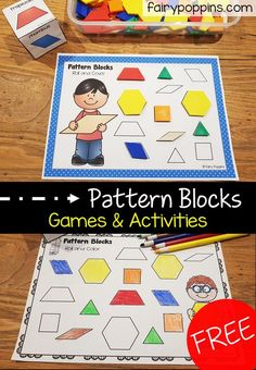 Free pattern blocks activities to help kids identify shapes. Kids will enjoy playing these hands-on pattern block games and worksheets. Shape Activities Kindergarten, Preschool Lessons, Preschool Printables, Preschool Learning, In Kindergarten, Preschool Activities, Preschool Shapes, Joseph Activities, 2d Shapes Activities