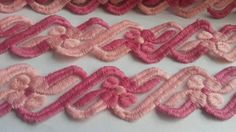 2 Yards pink rose lace trim, flower design pattern lace edging