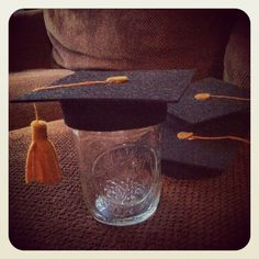 Graduation caps I made to top the mason jars for my daughter's party.