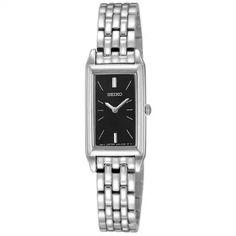 Seiko Women's SUJF75 Dress Baguette Silver-Tone Stainless Steel Watch