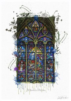 """Original digital artwork: Digital atercolour painting, """"St Rumbold's, Mechelen, No.1"""" by KatPearsonDesignsUK. Available as numbered limited edition A4 prints on Bockingford watercolour paper. Other works available in our Etsy shop. Please visit to see our full range #christianart #stainedglasswindows"""