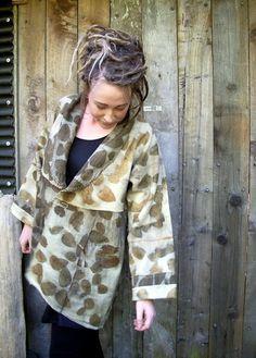 Upcycled NZ woolen blanket coat eco dyed with von IndigoBushStudios, $240.00