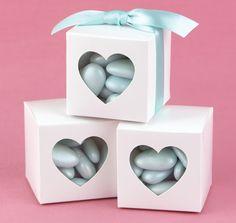 White Heart Window Favor Boxes (Set of 25) (Hortense B Hewitt 30811)   Buy at Wedding Favors Unlimited (https://www.weddingfavorsunlimited.com/white_heart_window_favor_boxes_set_of_25.html).