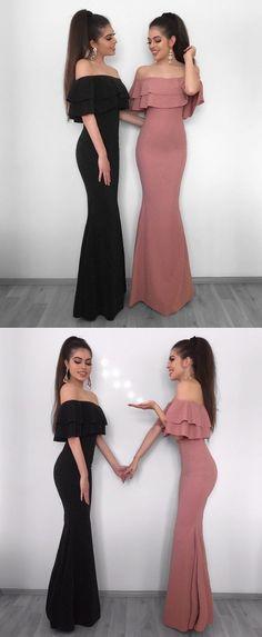 Mermaid Off-the-Shoulder Floor-Length Black Elastic Satin Prom Dress