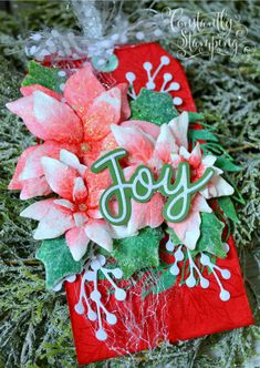 GDP269ConnieCollins-001 copy Stamped Christmas Cards, Stampin Up Christmas, Poinsettia Cards, Stamping Up Cards, Merry And Bright, Gift Tags, Christmas Wreaths, Paper Crafts, Joy